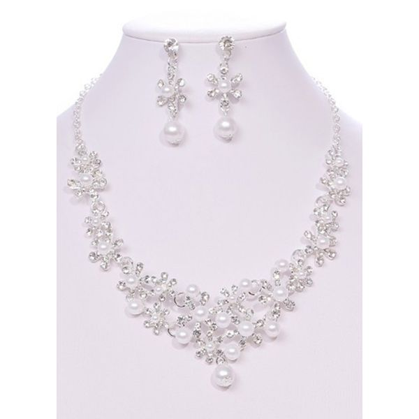 Floral Pearls Necklace Earring Jewelry Sets (1935527575)