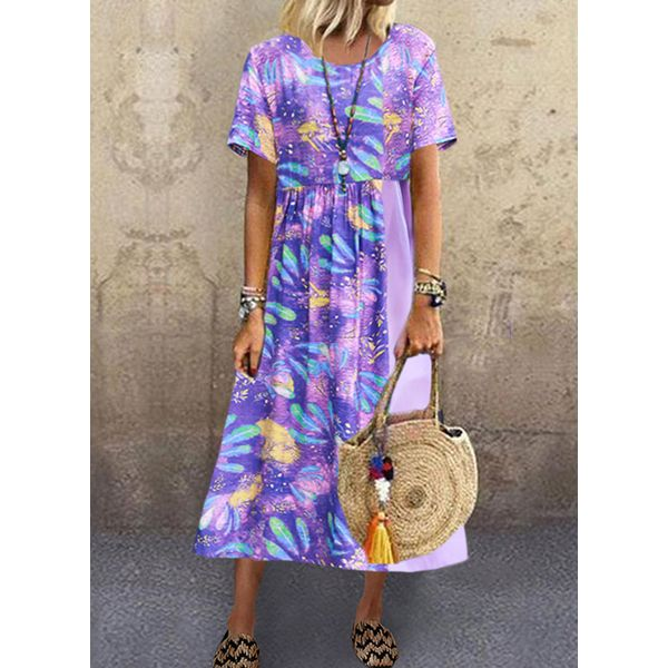 Casual Floral Tunic Round Neckline Shift Dress (1955578389)