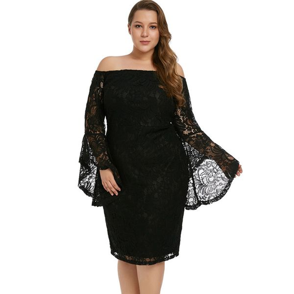 Plus Size Solid Pencil Long Sleeve Midi Sheath Dress (1955380251) 5
