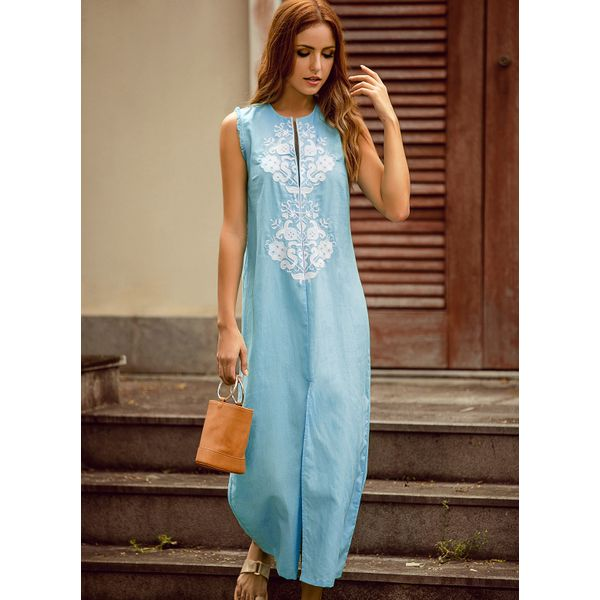 Floral Embroidery Sleeveless Maxi Shift Dress (01955339220) 10
