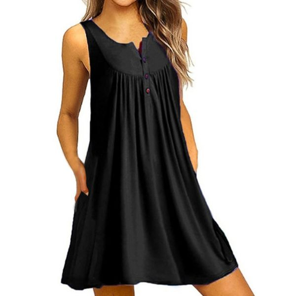 Casual Solid Buttons Tunic A-line Dress (1955561862)