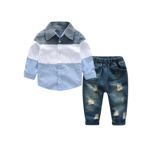 Boys' Casual Color Block Daily Long Sleeve Clothing Sets (30165333034) 4