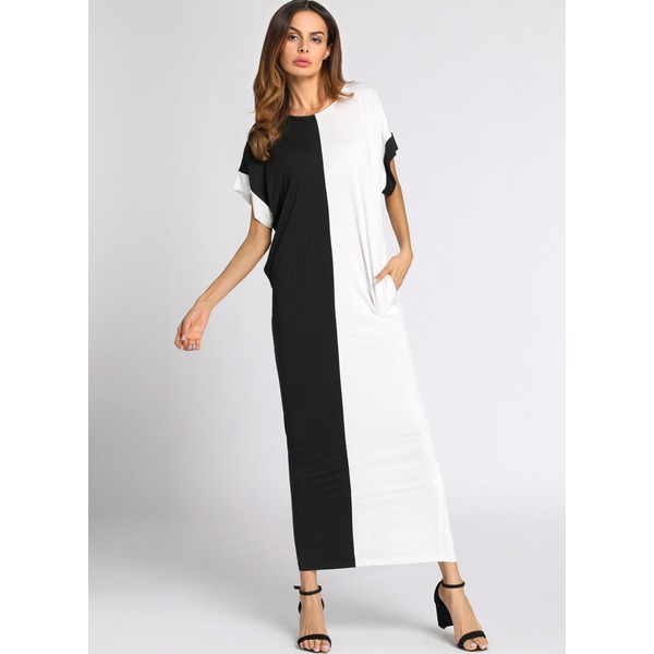 Color Block Half Sleeve Maxi Shift Dress (1955150989) 5