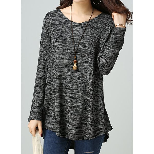 Round Neckline Color Block Loose Regular Shift Sweaters (1675379011) 11