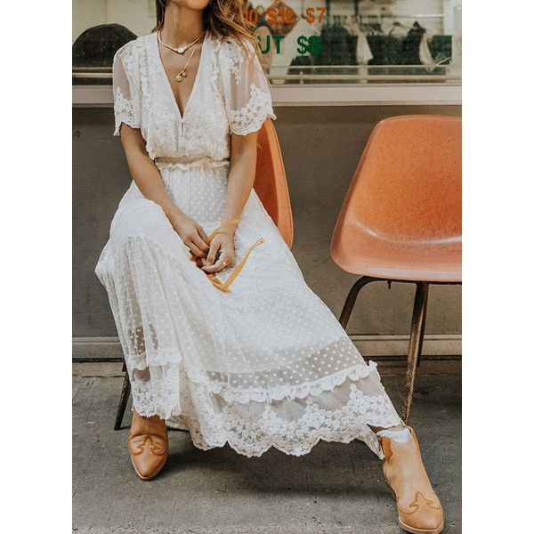 Casual Solid Lace V-Neckline X-line Dress (1955559782)
