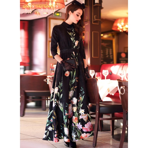 Floral 3/4 Sleeves Maxi A-line Dress (1955100518) 1