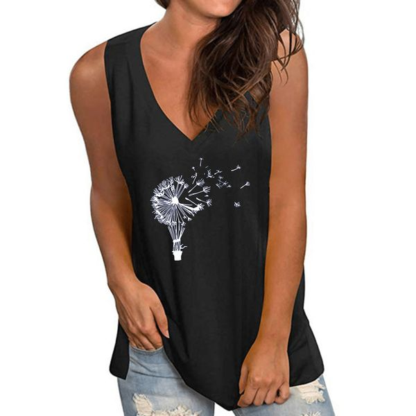 Floral V-Neckline Sleeveless Casual T-shirts (1685599930)