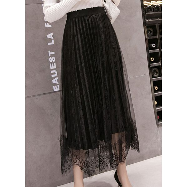 Solid Mid-Calf Casual Skirts (1725381524) 7
