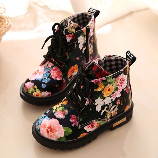 Girls' Flower Lace-up Outdoor Girls' Shoes (30195376703)