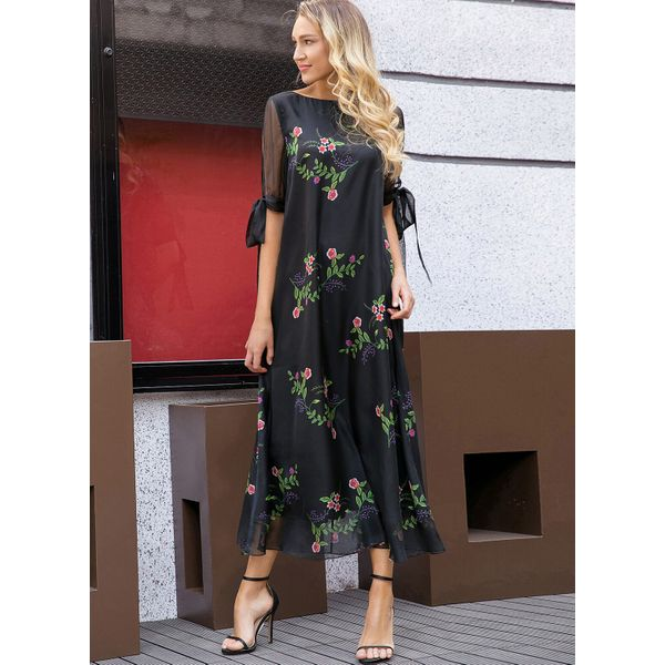 Floral Half Sleeve Maxi A-line Dress (1955262468) 2