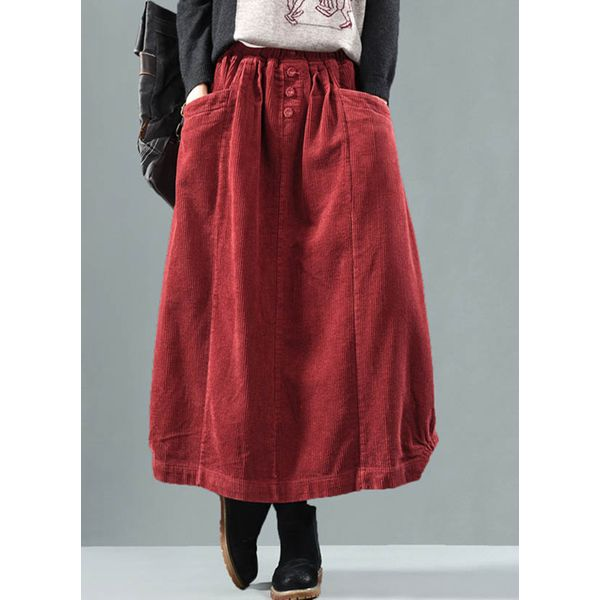 Solid Maxi Casual Buttons Pockets Skirts (1725364707)