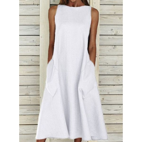 Casual Solid Tunic Round Neckline A-line Dress (1955598762)
