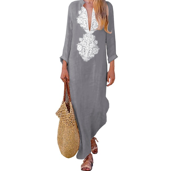 Floral Embroidery Long Sleeve Maxi Shift Dress (1955326469)