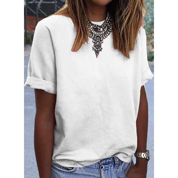 Solid Round Neck Short Sleeve Casual T-shirts (1685594256)