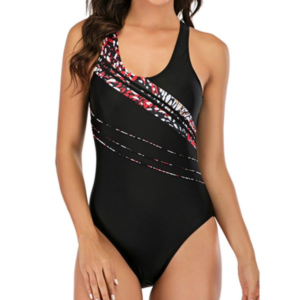 Polyester Color Block One-piece Swimwear (30015592306)