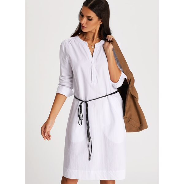 Solid Pockets Wrap Knee-Length Shift Dress (01955380788) 1