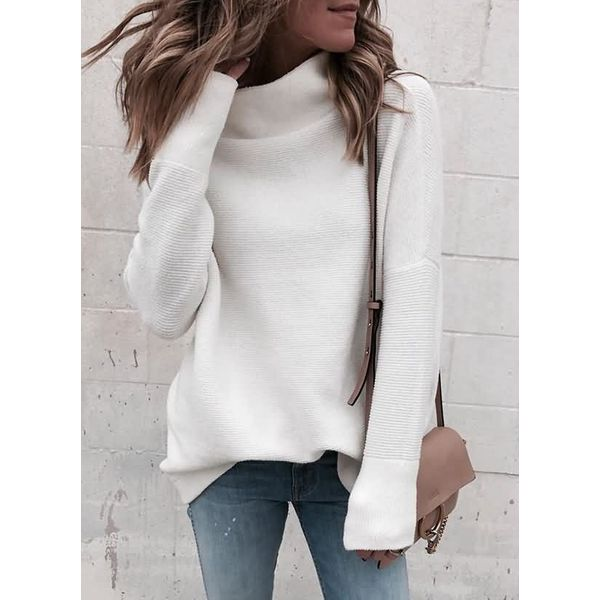 High Neckline Solid Loose Long Shift Sweaters (1675365905) 10