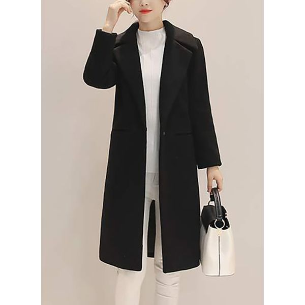 Long Sleeve Lapel Trench Coats (1715380947)