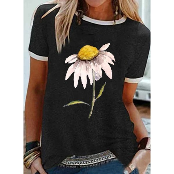 Floral Round Neck Short Sleeve Casual T-shirts (1685580773)