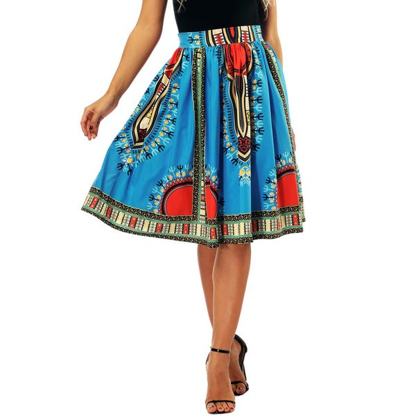 Color Block Knee-Length Casual Skirts (1725383704, Blue;green;red