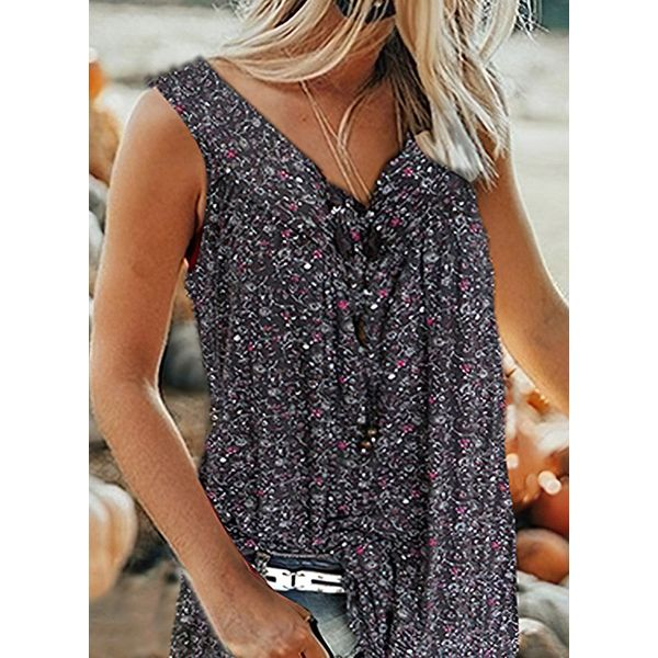 Floral V-Neckline Sleeveless Casual T-shirts (1685574576)