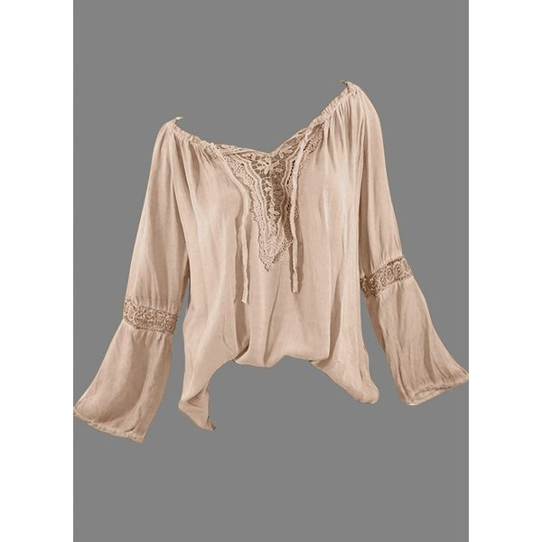Solid Casual Others Long Sleeve Blouses (1645296437) 6