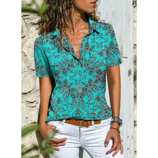Solid Casual Collar Short Sleeve Blouses (01645411898)