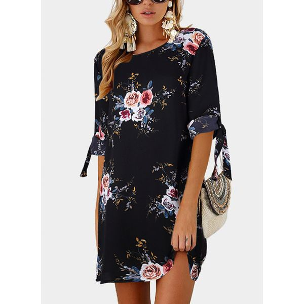 Floral 3/4 Sleeves Above Knee Shift Dress (1955381926) 2