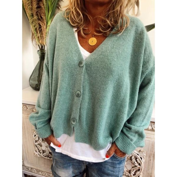 V-Neckline Solid Casual Loose Short Buttons Sweaters (1675464196)