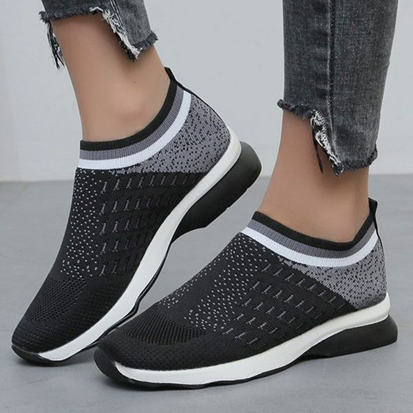 Women's Hollow-out Closed Toe Fabric Wedge Heel Sneakers (1625594363)