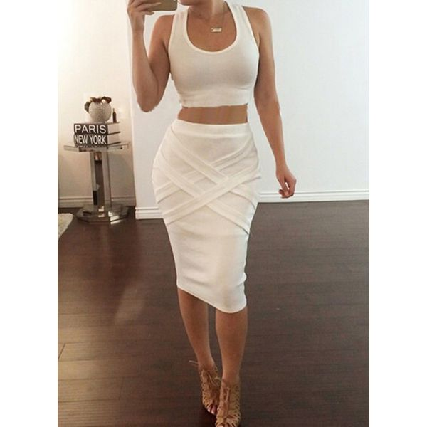 Solid Knee-Length Sexy Skirts (1725381504) 12
