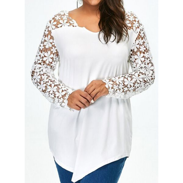 Plus Size Solid Casual Round Neckline Long Sleeve Blouses (1645382984) 11