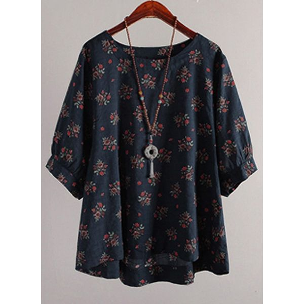 Floral Casual Round Neckline Half Sleeve Blouses (1645427251, Blue;green;pink;yellow