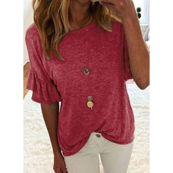 Solid Round Neck Half Sleeve Casual T-shirts (1685558326)