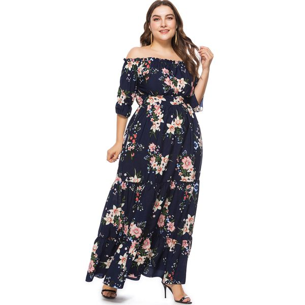 Plus Size Floral 3/4 Sleeves Maxi X-line Dress (1955377381) 2