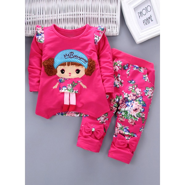 Girls' Floral Daily Long Sleeve Clothing Sets (30145323305) 11