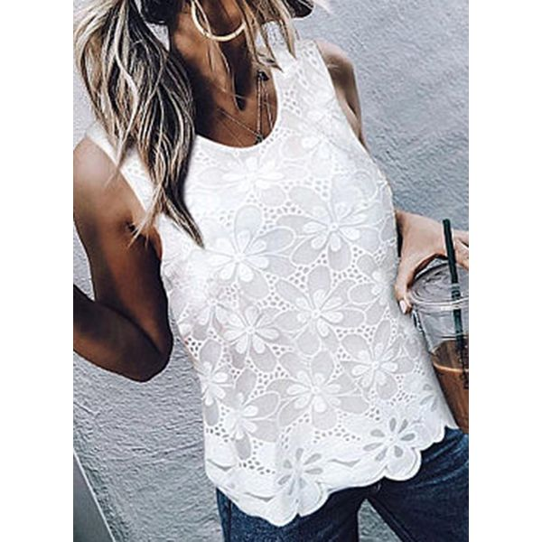 Floral Casual Round Neckline Sleeveless Blouses (1645570425)