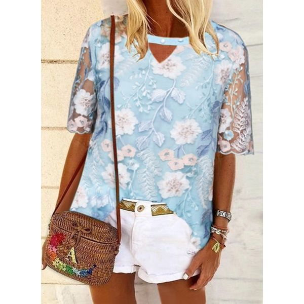 Floral Casual Round Neckline Half Sleeve Blouses (1645599691)