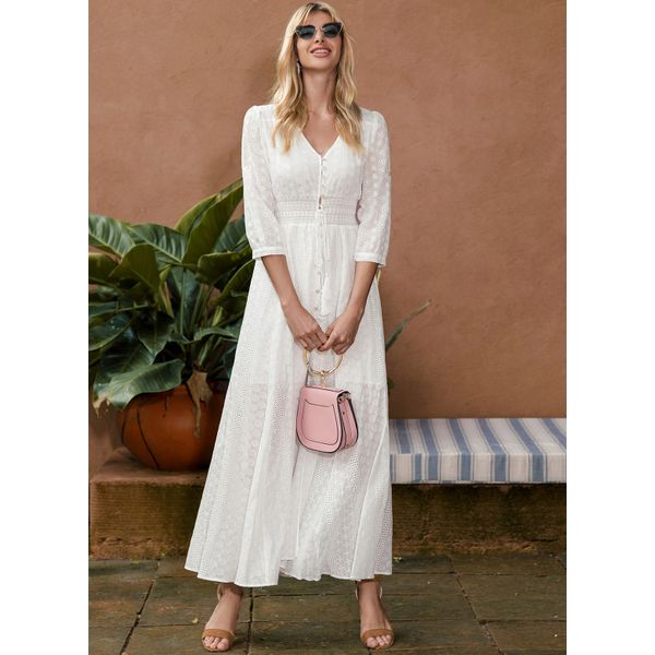 Solid Embroidery 3/4 Sleeves Maxi X-line Dress (01955328340) 4