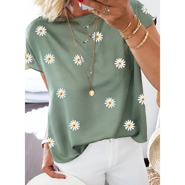 Floral Round Neck Short Sleeve Casual T-shirts (1685596472)