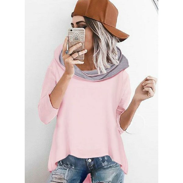 Hooded Color Block Loose Long None Sweaters (1675349317) 3