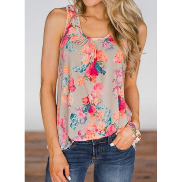 Floral Square Neckline Sleeveless Casual T-shirts (1685574875)