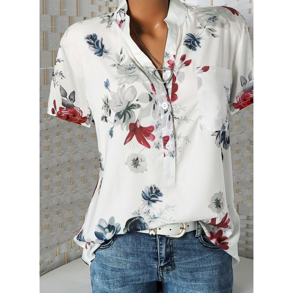 Floral Casual Stand Collar Short Sleeve Blouses (01645381360) 5
