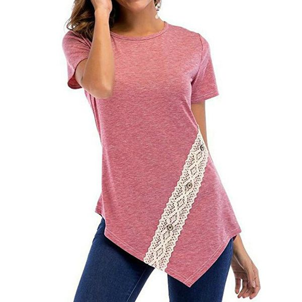 Color Block Round Neck Short Sleeve Casual T-shirts (1685381633) 4
