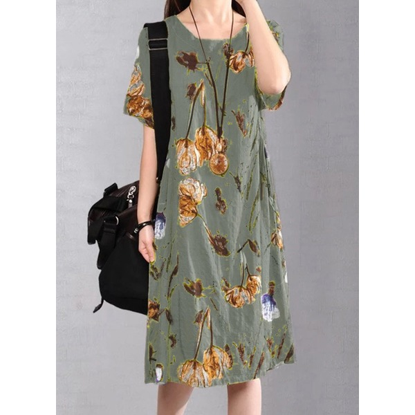 Floral Short Sleeve Knee-Length A-line Dress (1955268956) 9