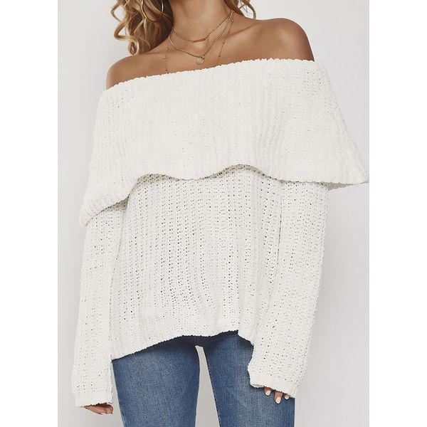 Off the Shoulder Solid Loose Regular Shift Sweaters (1675378842) 8