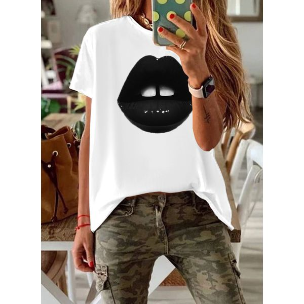 Color Block Round Neck Short Sleeve Casual T-shirts (1685594104)