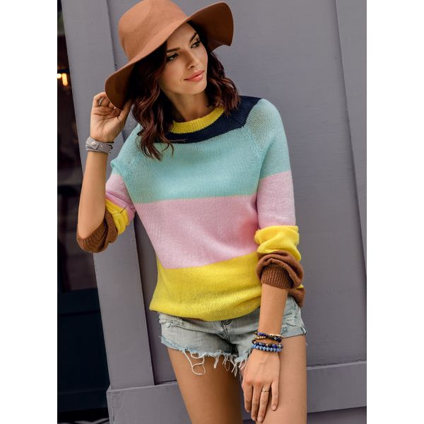 Color Block Casual Round Neckline Long Sleeve Blouses (01645359829) 9