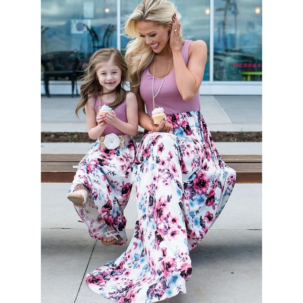 Mommy and Me Floral Casual Sleeveless Family Outfits (30245564422)