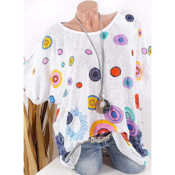 Color Block Casual Round Neckline Short Sleeve Blouses (1645553895)